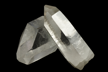 Mountain crystal, otherwise rock crystal. Colorless, transparent quartz. Mineral Composed Mainly of a silicon dioxide. Stock Photo