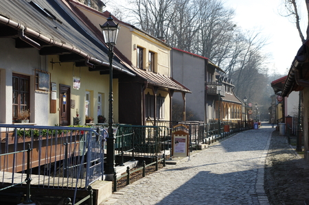 Cieszyn, Poland February 06, 2016, Przykopa street, residential complex called Cieszyn Venice. Houses are adjacent to the channel, the entrances to the houses are small bridges.