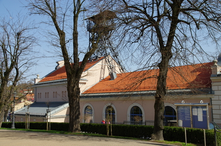 salt mine: Wieliczka, Poland - April 04, 2016, Tadeusz Kosciuszko Square. Regis - the historic salt mine shaft. The historic mine is now a tourist attraction.