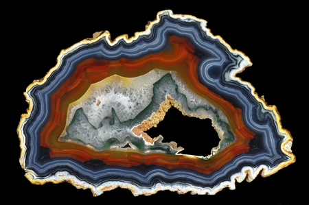 A cross section of the agate stone with geode. Origin: Brazil. Stock Photo
