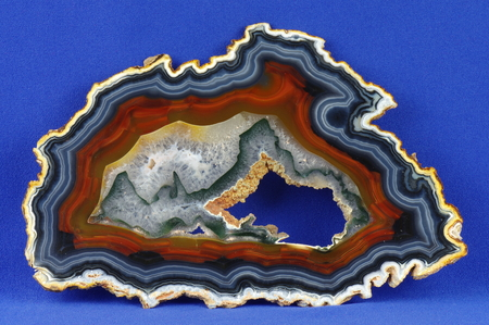gemology: A cross section of the agate stone with geode. Origin: Brazil. Stock Photo