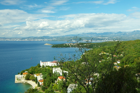 Omisalj, Croatia: a town situated on the northern coast of the island of Krk. View from the town on the Kvarner Bay and the city of Rijeka.