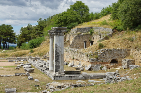 Ruins of Filippi. The city was founded in the fourth century BC by Philip II of Macedon, then the Roman colony. With the fall of Byzantium it was completely destroyed and abandoned. St. Paul founded here the first Christian community on the continent of E Stock Photo