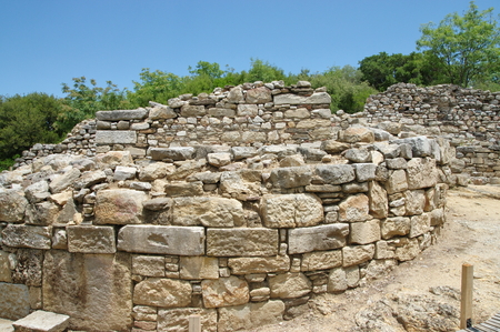 rebuilt: Ruins of Stagira. Antique colony of the 7th century BC. Ruined in the fourth century BC, then rebuilt at the request of Aristotle. Aristotles birthplace and burial site. Ruins are located near the village of Olympia near the eastern coast of the peninsul Stock Photo