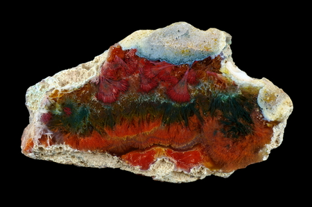 A cross section of agate stone. Agate with many pseudomorphs. Origin: Rudno near Krakow, Poland.