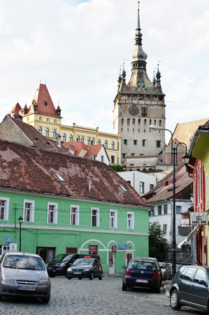 Sighisoara, Transylvania, Romania – September 12, 2017: buildings typical for the region in the new part of the city.