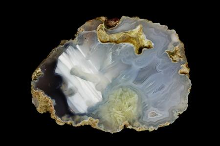 A cross-section of agate. Horizontal agate with quartz-agate fill. Origin: Rudno near Krakow, Poland.