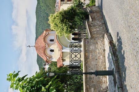 Xanthi, Thrace, northeastern Greece - Juni 22, 2018: Mitropoleos Square. Small church near Metropolitan Hall.