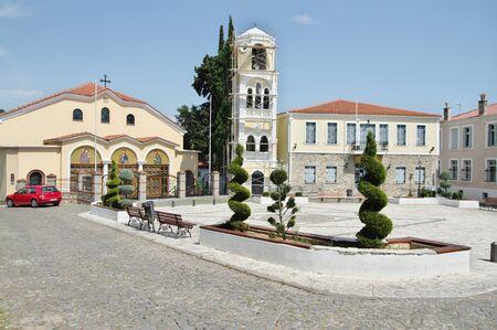 Xanthi, Thrace, northeastern Greece - Juni 22, 2018: Mitropoleos Square. Holy Metropolitan Church of Timios Prodromos - Greek Orthodox Church.