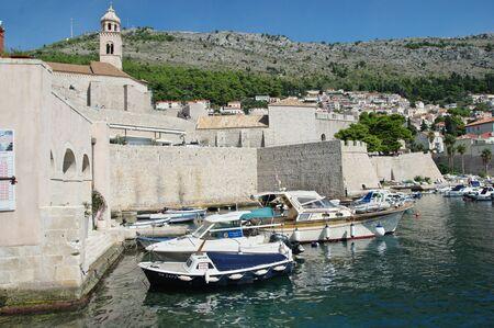 Dubrovnik, Dalmacija, Croatia - September 11, 2018: Old port - Old gap. You can see a lot of defensive walls.