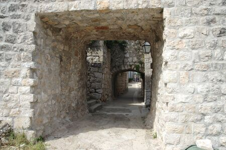 Mali Ston, Peljesac Peninsula, Dalmatia, Croatia – September 13, 2018: gate in the defensive walls surrounding the old city.