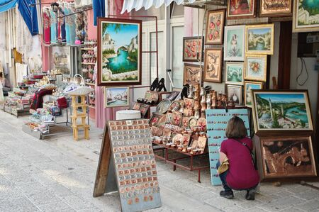 Mostar, Bosnia and Herzegovina - September 15, 2018: exhibitions of the shop with souvenirs and regional handicraft products. 에디토리얼