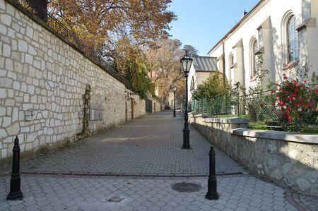 Tokaj, Hungary - October 16, 2018: Kossuth Ter, square in the center of the city, near Heart of Jesus Church. 에디토리얼