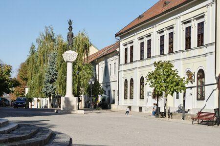 Tokaj, Hungary - October 16, 2018: Kossuth Ter, square in the center of the city. The statue of King Saint Stephen.