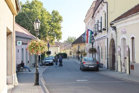Tokaj, Hungary - October 16, 2018: Rakoczi street. On the right you can see the local government Office. 에디토리얼
