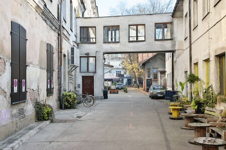Poland, Cracow – November 07, 2018: Dolnych Mlynow street, old industrial complex in the city center. Tobacco factory founded by the Austrians in 1876. In the years 1918 - 1939 and 1958 - 1973, the  에디토리얼