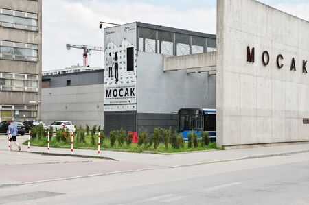 Krakow, Poland – May 12, 2019: district of Podgórze, Lipowa street. Building of the Museum of Contemporary Art in Krakow (MOCAK). 에디토리얼