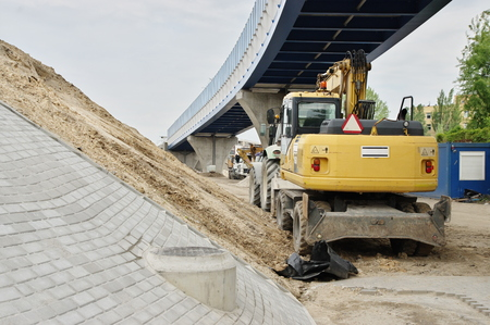 Krakow, district of Podgórze. Construction works at the railway overpass.