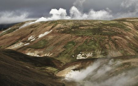 Landmannalaugar, clouds, cloudy, erosion, geology, Iceland, landscape, mountain, mountains, natural, nature, north, northern, rock, sky, steam, valley, volcanic, wild, wildness,  photo