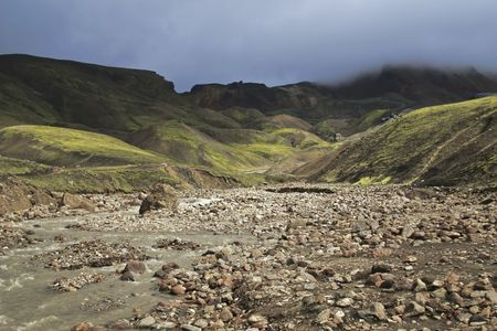 wildness: clouds, cloudy, erosion, Iceland, landscape, mountain, mountains, natural, nature, north, northern, river, sky, stream, valley, volcanic, wild, wildness,