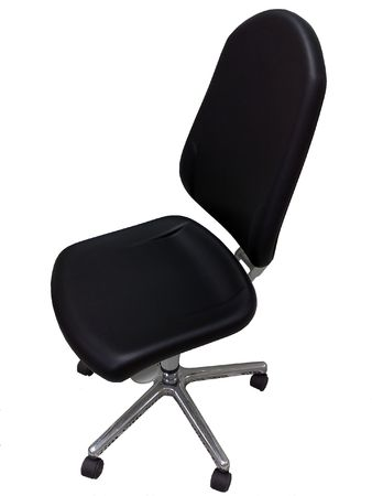 Black office chair isolated on a white background.