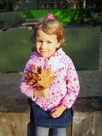 The girl on a bench with leaves in a hand