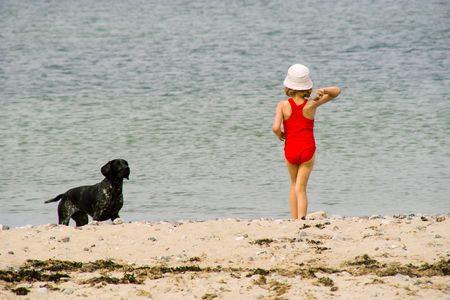 The girl plays with a dog on a beach photo
