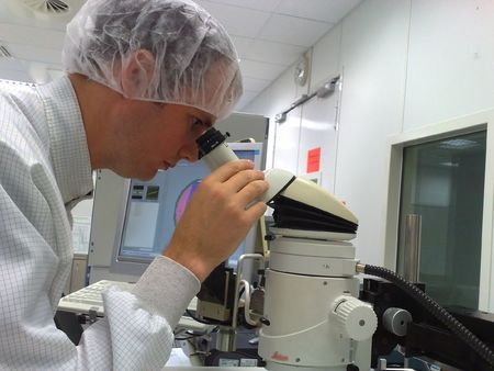 Quality control with a microscope Stock Photo - 7627445