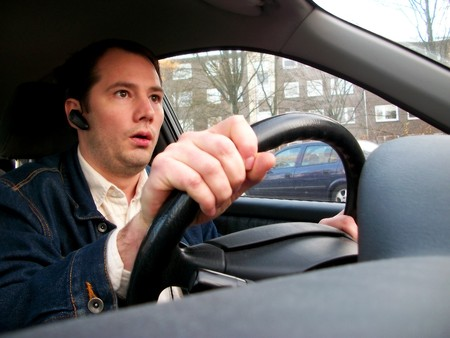 The scared driver Stock Photo