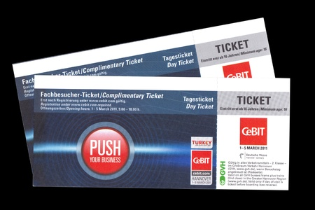Hannover, Germany - March 2011: Day Ticket for Cebit 2011 in Hannover, Germany Editorial