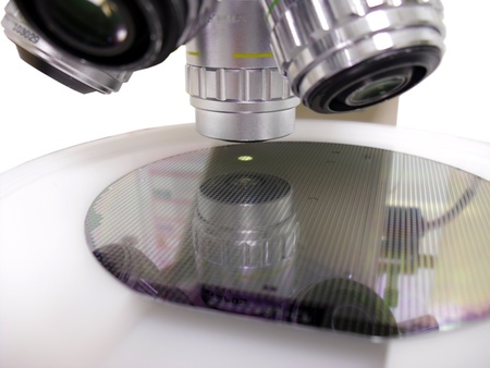 Silicone wafer under the microscope photo