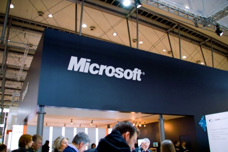 HANNOVER, GERMANY - MARCH 5: stand of the Microsoft on March 5, 2011 in CEBIT computer expo, Hannover, Germany. CeBIT is the worlds largest computer expo.