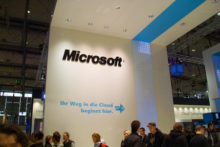 microsoft: HANNOVER, GERMANY - MARCH 5: stand of the Microsoft on March 5, 2011 in CEBIT computer expo, Hannover, Germany. CeBIT is the worlds largest computer expo.