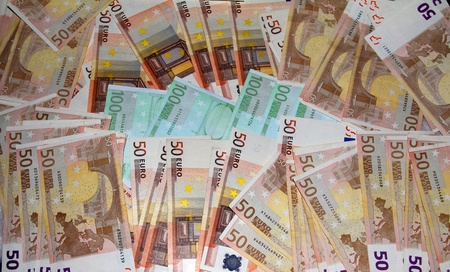 A lot of the 100 and 50 Euro banknotes photo