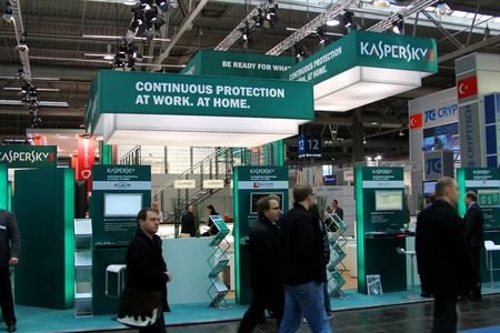 HANNOVER, GERMANY - MARCH 10, 2012: stand of the Kaspersky Lab in CEBIT computer expo, Hannover, Germany. CeBIT is the world