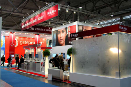 HANNOVER, GERMANY - MARCH 5: stand of McAfee on March 10, 2012 in CEBIT computer expo, Hannover, Germany. CeBIT is the world Editorial