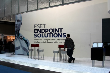HANNOVER, GERMANY - MARCH 10: stand of Eset on March 10, 2012 in CEBIT computer expo, Hannover, Germany. CeBIT is the world Editorial