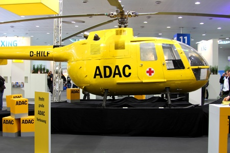 HANNOVER, GERMANY - MARCH 10: stand of ADAC on March 10, 2012 in CEBIT computer expo, Hannover, Germany. CeBIT is the world