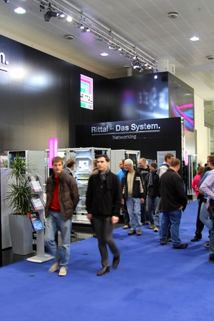 HANNOVER, GERMANY - MARCH 10, 2012: stand of the Rittal in CEBIT computer expo, Hannover, Germany. CeBIT is the world