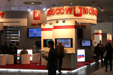 HANNOVER, GERMANY - MARCH 10: stand of the Moscow city on March 10, 2012 in CEBIT computer expo, Hannover, Germany. CeBIT is the world Stock Photo - 12849421