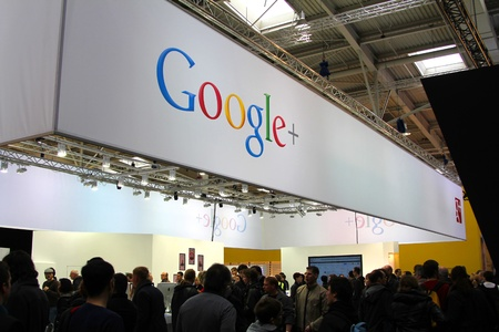 HANNOVER, GERMANY - MARCH 10: stand of Google+ on March 10, 2012 at CEBIT computer expo, Hannover, Germany. CeBIT is the world