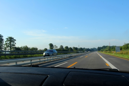 View from the car on the high-speed highway