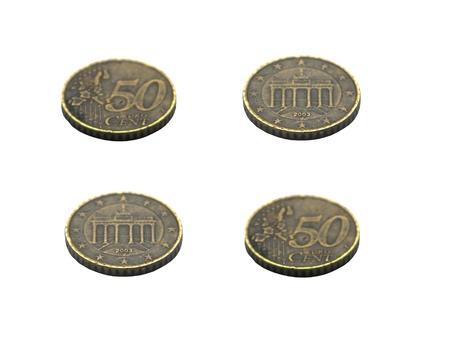 Old coins of 50 euro cents Stock Photo