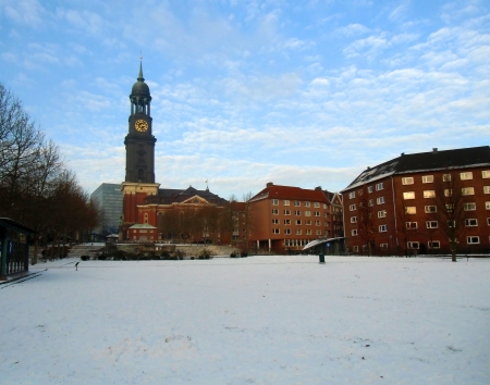 The area before church in the winter photo