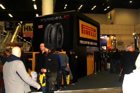 tage: HAMBURG, GERMANY - JANUARY 26: The stand of Pirelli  on January 26, 2013 at HMT (Hamburger Motorrad Tage) expo, Hamburg, Germany. HMT is a large motorcycle expo