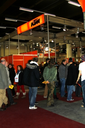 tage: HAMBURG, GERMANY - JANUARY 26: The stand of KTM Koestler  on January 26, 2013 at HMT (Hamburger Motorrad Tage) expo, Hamburg, Germany. HMT is a large motorcycle expo