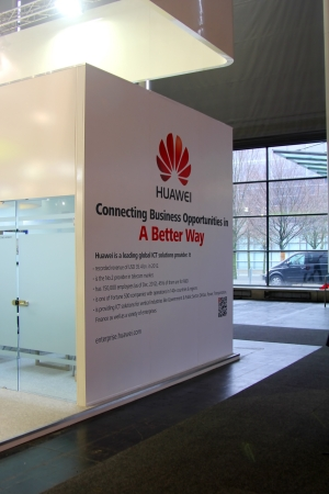 HANNOVER - MARCH 9: stand of Huawei on March 9, 2013 at CEBIT computer expo, Hannover, Germany. CeBIT is the worlds largest computer expo.