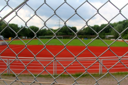 The soccer field behind a lattice