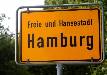 The hamburg city road sign Stock Photo
