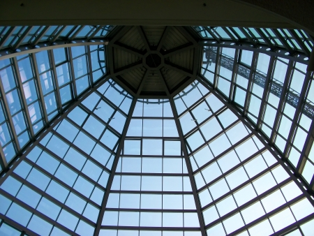 The roof of glass and steel